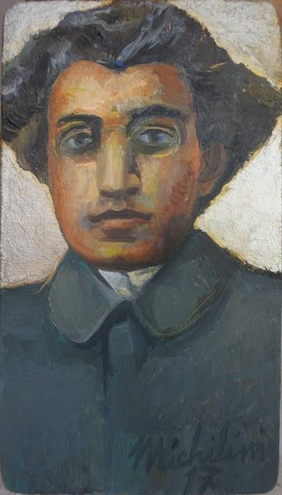 Sergio Michilini, PICCOLO RITRATTO GRAMSCI, 2017, olio su tela, cm.23x13