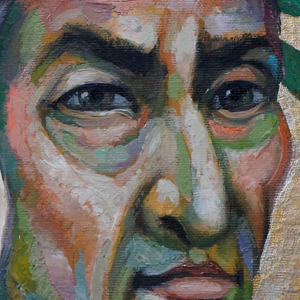 Sergio Michilini, RITRATTINO DI DANTE ALIGHIERI, 2017, olio su tela, cm.30x20 PARTICOLARE