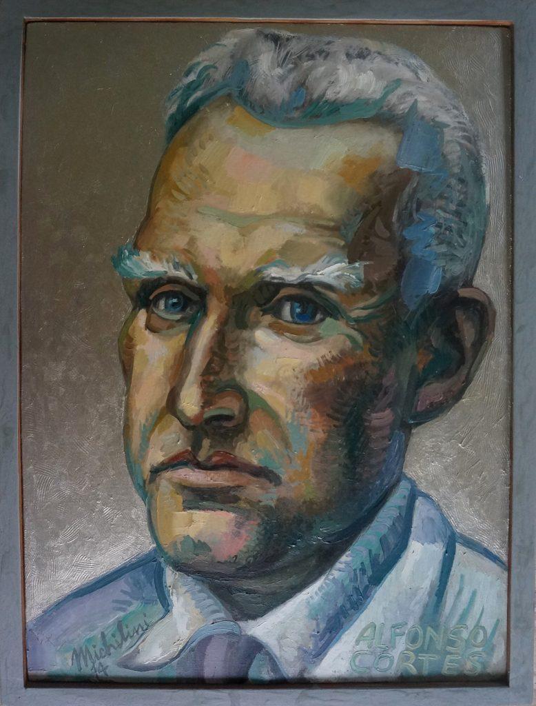 Sergio Michilini, RETRATO BLANCO DE ALFONSO CORTES, 20124, óleo sobre tela, cm.60×45