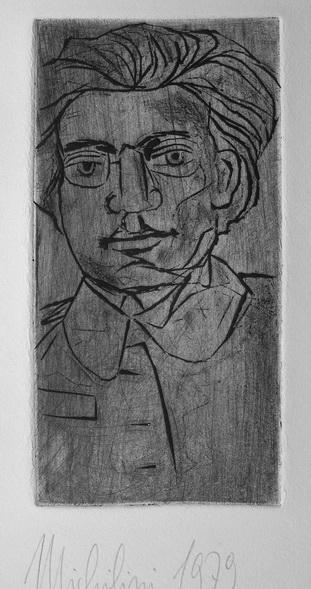 1979, ANTONIO GRAMSCI, grabado al bulino sobre metacrilato