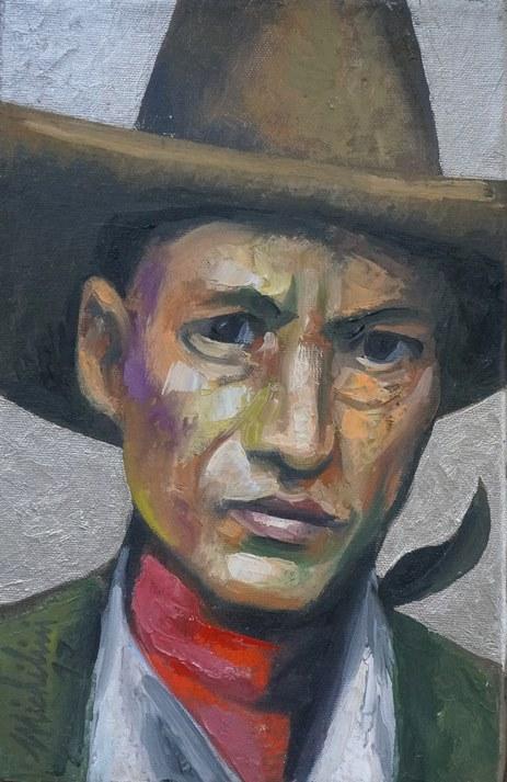 Sergio Michilini, SANDINO CON FONDO PLATEADO, 2017, óleo sobre tela, cm.29x19