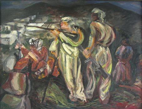 Sergio Michilini, 1979-BOZZETTO PER LA DIFESA DI MAHABAD, olio su tela, cm.80x60