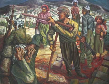 Sergio Michilini, 1979-LA DIFESA DI MAHABAD, olio su tela, cm95x120
