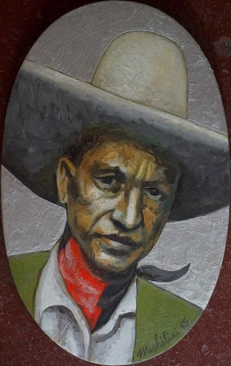 Sergio Michilini, SANDINO EN SOPORTE ELIPTICO, 2015, óleo sobre tela, cm. 39×25