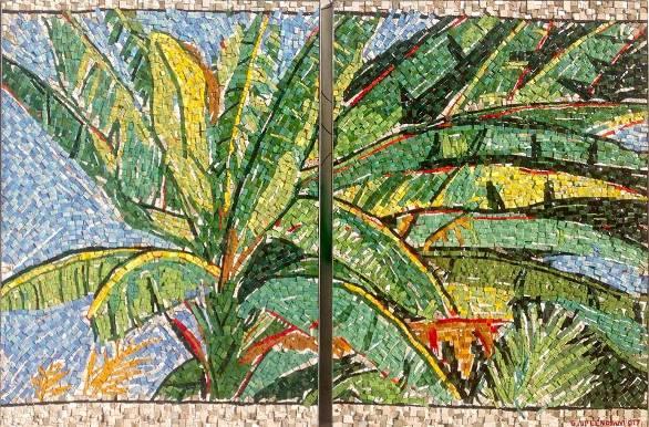 Giancarlo Splendiani, BANANO, 2017, dittico, mosaico in paste vitree marmi e sassi, insieme cm.100x150