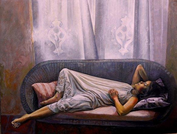 Sergio Michilini, VALESKA EN EL SOFÁ DE MIMBRE, 2017, óleo sobre tela, cm.82x107