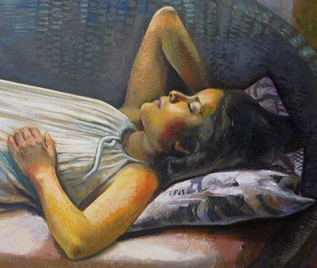 Sergio Michilini, VALESKA EN EL SOFÁ DE MIMBRE, 2017, óleo sobre tela, cm.82x107 DETALLE