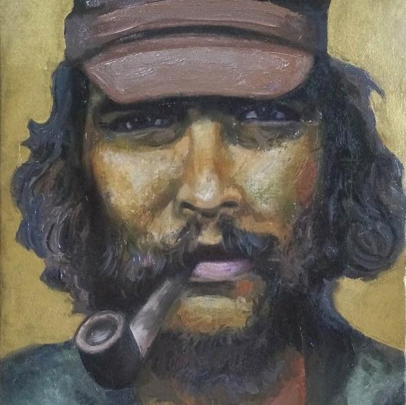 Sergio Michilini, EL CHE GUEVARA EN BOLIVIA, 2017, óleo sobre tela, cm.50x30 (detalle)