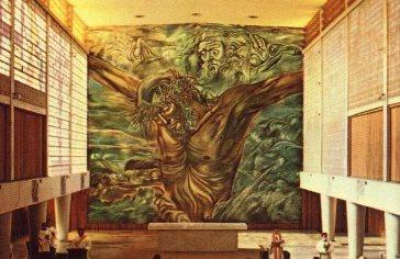 """FEDERICO CANTU, """"Dios padre y crucifixión"""", 1959, capilla de la Universidad Intercontinental, Ciudad de Mexico"""