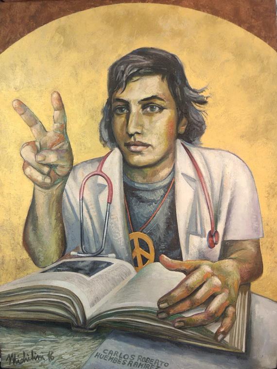 """Sergio Michilini, """"Carlos Roberto Huembés Ramírez con fondo dorado"""", 2016, óleo sobre tela, cm.97×70"""
