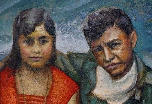 Sergio Michilini, BLANCA ARAUZ Y AUGUSTO C. SANDINO, 2018, oleotela, cm.78x60 DETALLE