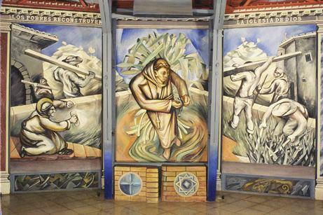 Sergio Michilini 1982-85, SAN FRANCISCO, tríptico mural en la Iglesia Santa maria de los Angeles, Barrio Riguero, Managua, Nicaragua, Patrimonio Cultural Nacional