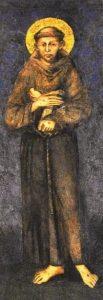 Cimabue, detalle de LA VIRGEN EN MAJESTAD Y SAN FRANCISCO , 1285-1288, fresco en la Basílica inferior de Asís
